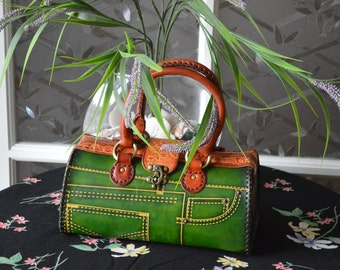 Genuine leather handbag with Jeans Designs,attractive Blue or Green.truly handmade,unique ! (Medium)