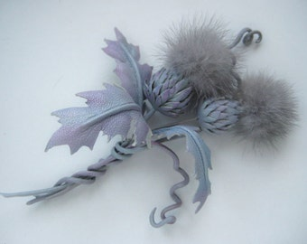 Lilac flower leather brooch or hair clip flower,thistle decoration of leather for clothing, dresses, suits,leather accessories.Make to order