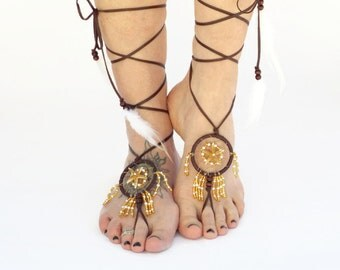 Barefoot Sandals, Footless bottomless Sandals, Dream Catcher Jewelry, Real Starfish, Beach Footwear, Leather Lace up with Feather Accents