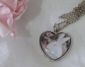 Floris & Florian -10- winter rose-heart shaped original print pendant.
