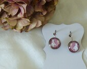 Floris & Florian -4-Midnight with wild roses-original print french style earrings.