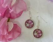 Floris & Florian- 11 - summer meadow- original print drop earrings- sterling silver wires.