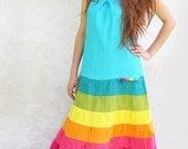 Turquoise Rainbow Dress Tank Dress Long Dress Boho Dress