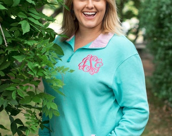 Preppy Quarter Zip, Preppy Monogrammed Pullover Quarter zips Mint with pink pinstripe, Xlarge only