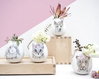 BUNDLE BUY Ceramic Planter, Air Plant Holder, Handmade Plant Pot, Indoor Plants Pot, Pick any 4 x Ceramic Hanging Pots, Mother's Day Gift