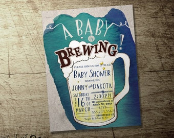 A baby is brewing invitation, beer baby shower invitations, Coed , blue or pink, Co-ed beer theme baby shower, High quality printable file