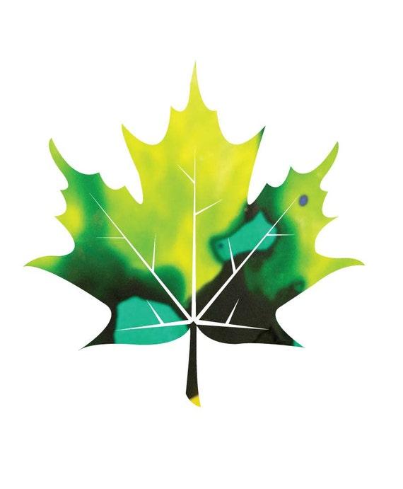 Maple leaf digital art print, abstract, modern alcohol ink patterned leaf art,  Instant Download, printable art, wall decor