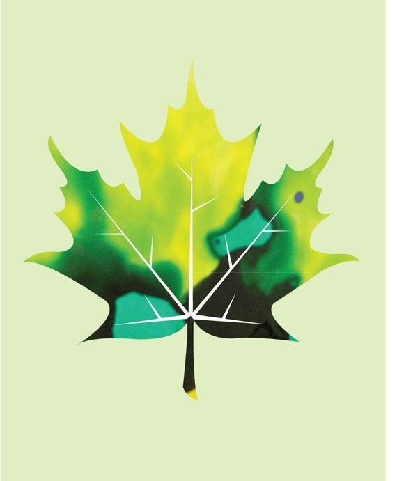 Abstract pattern maple leaf digital art print, alcohol ink patterned leaf art, maple leaf silhouette art print, Instant Download