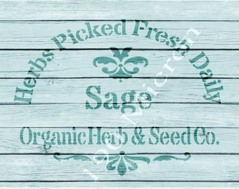 Re-usable Mylar Stencil SAGE,Herbs, Garden, Furniture, Fabric, French, Vintage, Shabby Chic