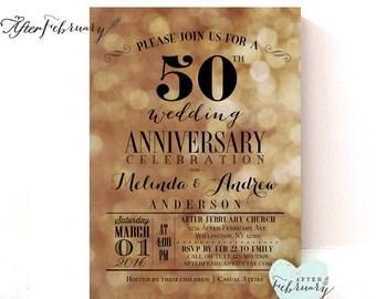 50th Anniversary Invitation // Golden Wedding Anniversary Invite // Black and Gold // No.632