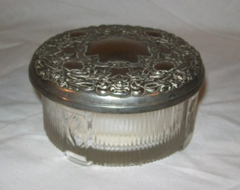 Vintage Dresser Jar With Silver Lid