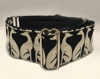 2 inch Martingale Collar, With Black White Special Greyhound Galgo Pattern and Black Fabric, Greyhound Galgo Martingale Collar
