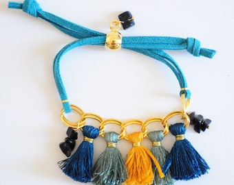"Bracelet ""Sharadini"" - Midnight Blue Sun stone - #01"