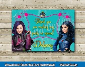 Disney Descendants Thank You Card Customized, Disney, Party templates, Birthday, Descendants, printable DIY