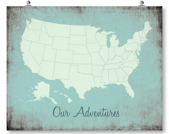 Us Map Poster Etsy - Large us road map poster