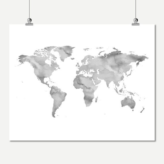 Gray Wall Art Watercolor World Map Neutral Color Printable Of The Decor Digital Print Instant Download Poster