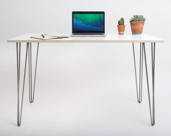Hairpin Desk - Formica Birch & Hairpin legs - Size Small (120cm x 60cm)