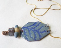 juniper shadow torch enameled recycled copper pendant in lavender and grey