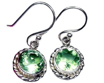 Sterling Silver Round Faceted Green Amethyst Earrings