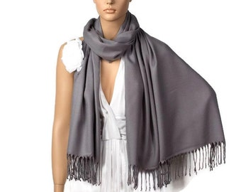 Gray Shawl, Wedding Shawl, Gray Pashmina,  Bridesmaid Shawl, Bridesmaid Gift, Bridal Accessory, Wedding Wrap,Solid Color Scarf,Wedding Scarf