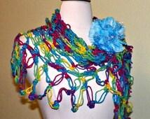 Fall Sale- Hippie Shawl Triangle Crochet Bright Rainbow Red Yellow Blue Green  Bridal  Wedding Wrap Scarf Boho Summer Wrap With Brooch