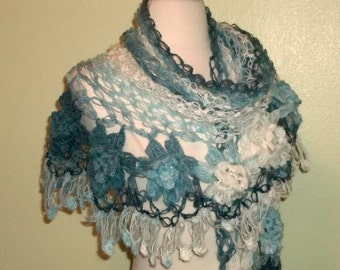 On Sale- Mohair Crochet Shawl Triangle Blue And White Lace Bridal Flower Floral Wedding Wrap Scarf Boho Summer Wrap