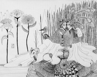 In the reeds, 2015, 50cm * 70cm, Fineliner on rice paper