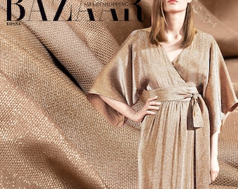 130CM Wide 220G/M Golden Thread Linen Solid Color Fabric for Spring and Summer Dress Clothes E093