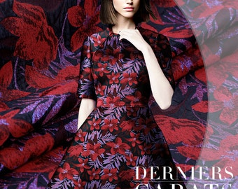 155CM Wide Dark Red Jacquard Fabric for Autumn and Winter Clothes Coat Jacket