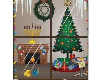 Chrismukkah Puzzle, 252-piece Puzzle, Ready to Ship, Hanukkah & Christmas