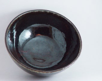 Small 6 inch Decorative Bowl, Glossy Dark Brown Black, Kitchen Serving dish Soup Cereal Bowl, Wheel Thrown stoneware pottery ceramic