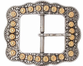 "Sunburst Buckle Silver with Rose Gold 1-1/2"" 2675-NG"