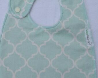 Mint patterned baby bib