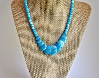 Green or Blue beaded statement necklace