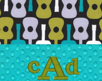 Blue Groovy Guitar Personalized Minky Baby Blanket - Teal Minky and Groovy Guitar in Lagoon by Michael Miller - Monogram or Name Embroidered