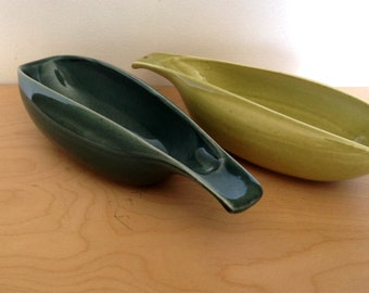 Mid Century Russel Wright American Modern Bowls, Gravy Boats - Steubenville Pottery - Chartreuse and Turquoise Bowls