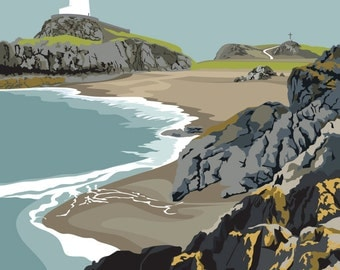 A3 LTD EDITION PRINT. Uk Anglesey Coast Minimal contemporary archival art print, inspired modernist design - By Ian Mitchell