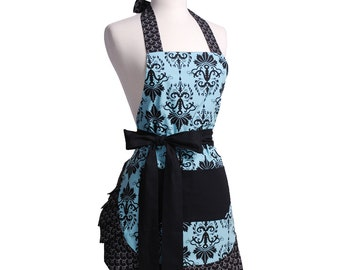 Flirty Aprons AQUA DAMASK APRON is Sexy, Fun, Flattering, Fashionable, Vintage, & Cute!