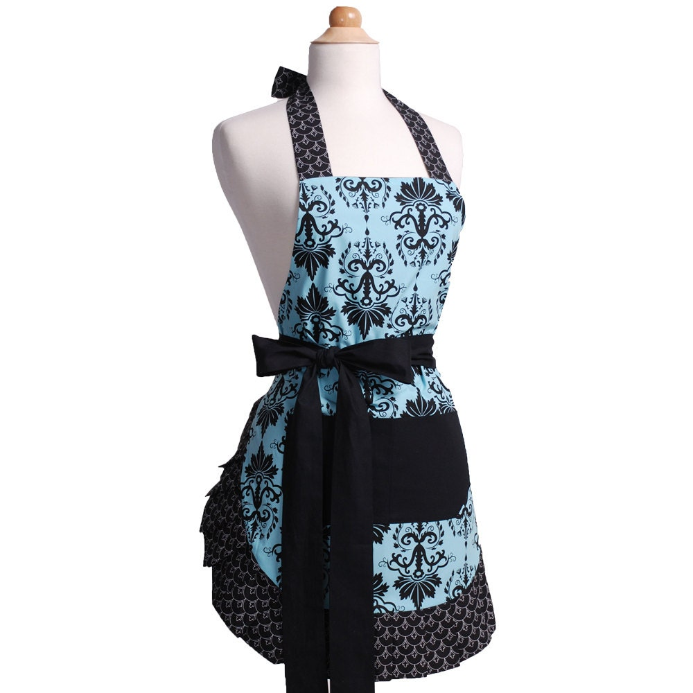 Flirty aprons aqua damask apron is sexy fun flattering for Apron designs and kitchen apron styles