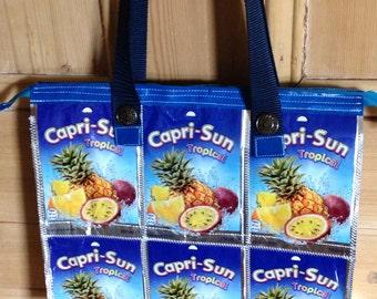 Zippered Shoulder Bag, Capri Sun handbag, Handbag with phone pocket, Beautiful practical tote, Upcycled shopper bag, Blue ladies purse