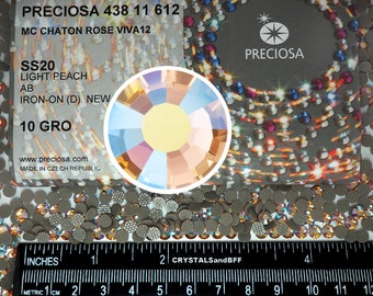 HOTFIX, 1440 Preciosa Genuine Czech Crystals 20ss Light Peach AB Viva12 Iron-on, ss20, 5mm