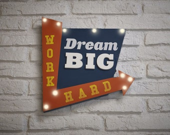 Dream Big Work Hard Box Light