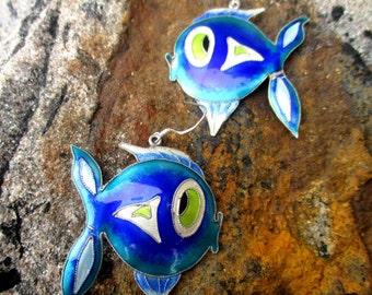 70s sterling silver cloisonné enamel fish earrings