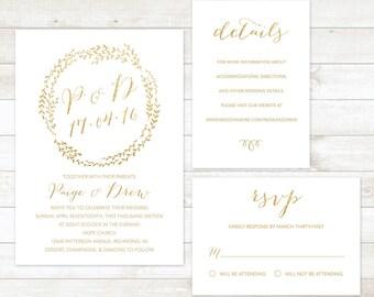 wedding invitation set, white gold wreath wedding invitation set, wedding invitation rsvp card accommodation card set, printable wedding set