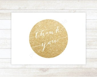 wedding thank you cards, white gold wedding thank you cards, gold glitter wedding thank you cards / INSTANT DOWNLOAD