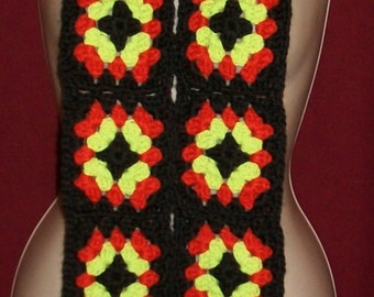 "New Handmade Crochet Granny Square Scarf Black/Red/Pale Green 65"" (#14)"