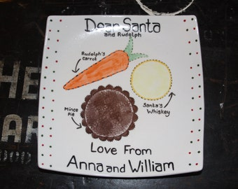 Square Server Personalised Christmas Eve Dear Santa / Father Christmas Plate Handmade Available in 2 Sizes