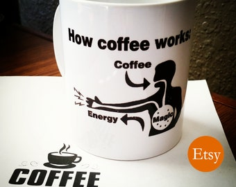 How Coffee Works: Magic! Funny sarcastic coffee mug for office or work desk great gift for him or her