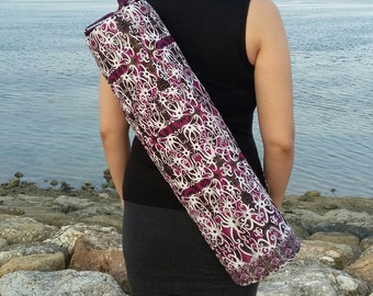 Purple Yoga mat bag, ikat swirling ethnic pattern, yoga bag, yoga sling bag, women's yoga bag