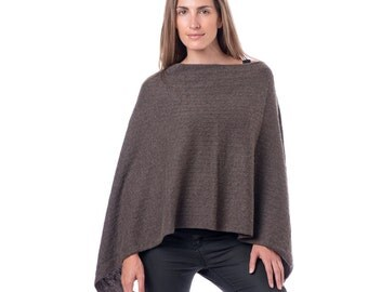 Taupe Cable Knit 100% Cashmere Poncho/Cable Knit Poncho/Cocoa Poncho